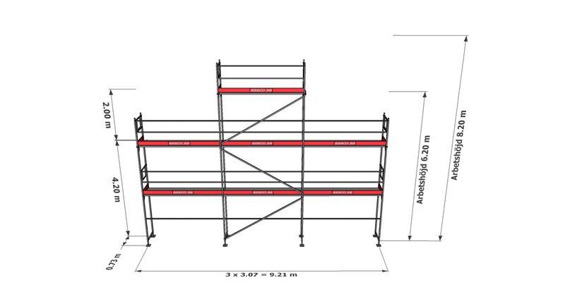 Bild på Rampaket stål 12 (9x6 m + gaveltopp)
