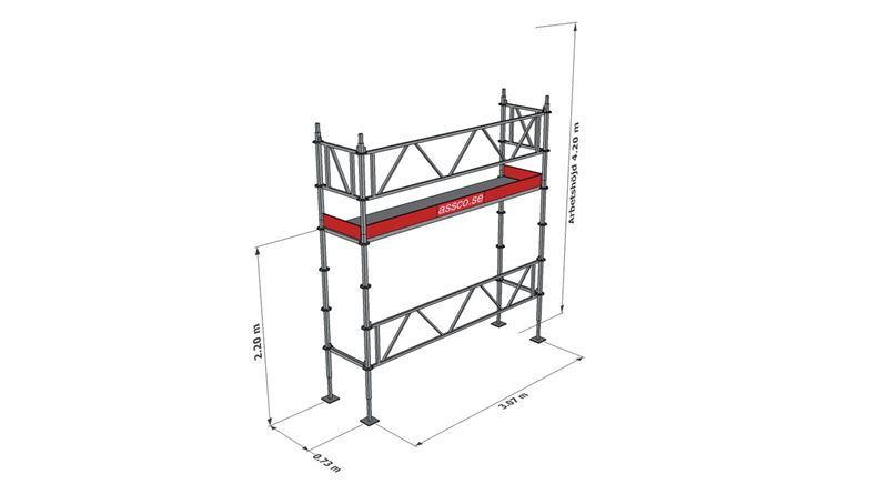 Bild på Modulställningspaket 1 (3x4m) med Dubbelräcke